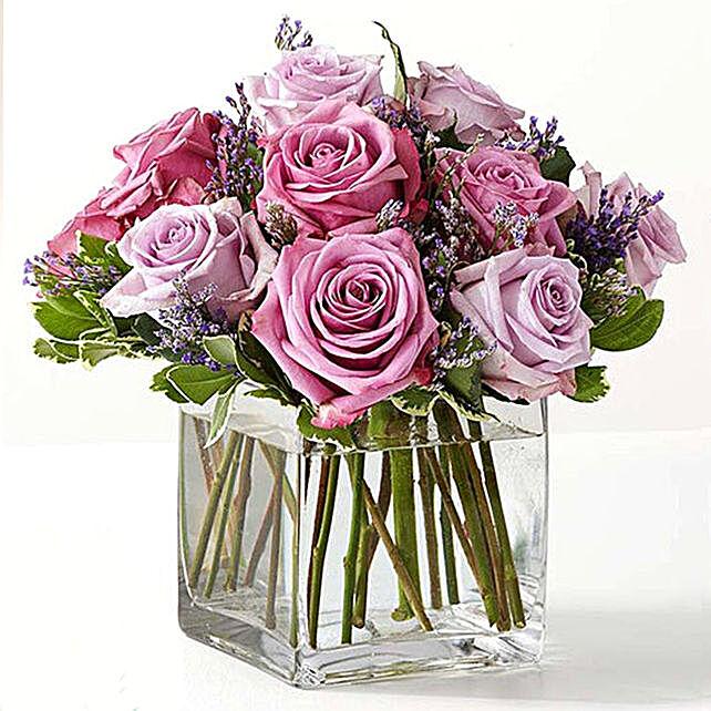 Vase Of Royal Purple Roses