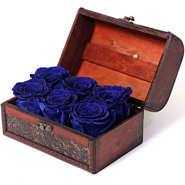 6 Blue Forever Roses In Treasure Box