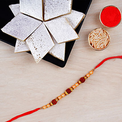 Rudraksha Regular Rakhi And Kaju Katli Combo