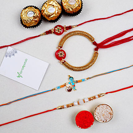 Family Set Of 4 Lumba Rakhis And Ferrero Rocher