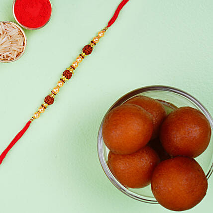 Rudraksha Regular Rakhi And Haldiram Gulab Jamun Tin Combo