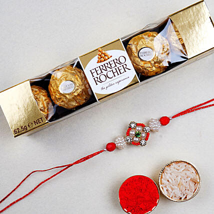 Appealing Floral Rakhi And 5 Pcs Ferrero Rocher