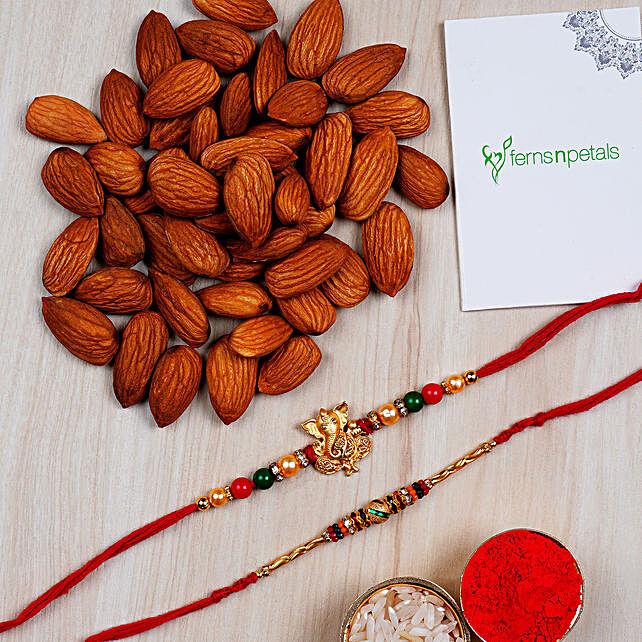 Combo 2 Designer Rakhis And Almonds