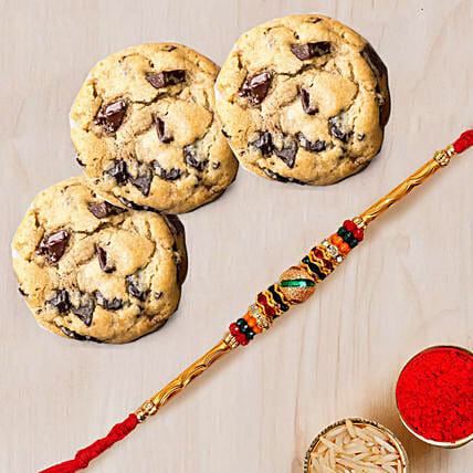 Meena Thread Rakhi and Choco Chip Cookies