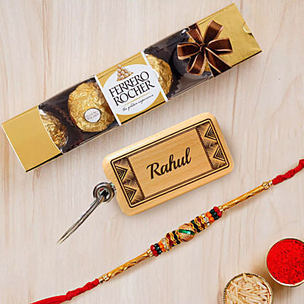 Meena Thread Rakhi with Chocolate and Key Chain