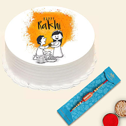 Meena Thread Rakhi with Happy Rakhi Cake