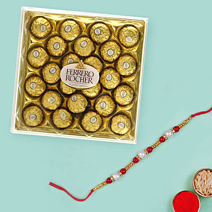 Red Pearl Rakhi and 300gm Ferrero Rocher