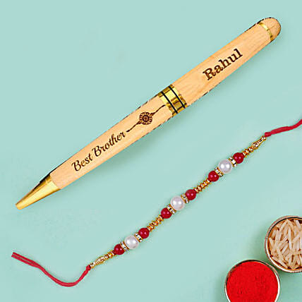 Red Pearl Rakhi and Personalised Engraved Pen