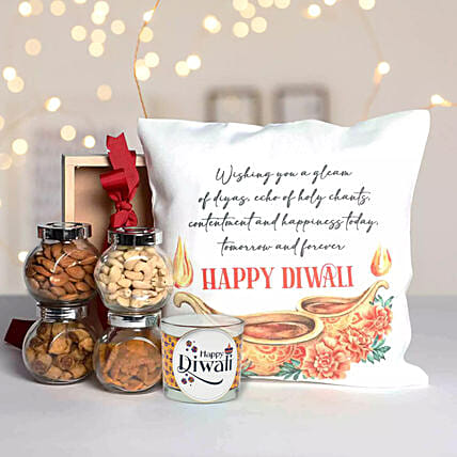 Diwali Gifts Hamper With Printed Cushion:Dry Fruits Hampers in UAE