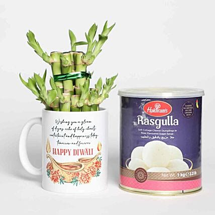 Lucky Bamboo In Printed Diwali Mug and Sweets