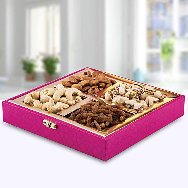 Dry Fruits Delight Pink Box:Send Bhai Dooj Dry Fruits to UAE