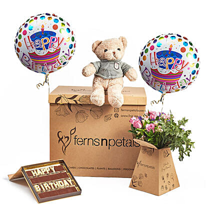 Cuddles and Chocolaty B Day Surprise Wishes:Balloons
