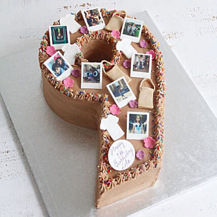Number 9 Edible Photos Cake:Photo Cake Delivery in UAE