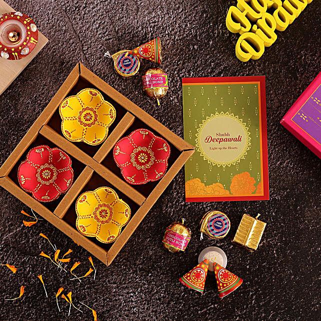 Set Of 4 Flower Diyas And Cracker Shaped Chocolates:Send Diwali Diyas to UAE