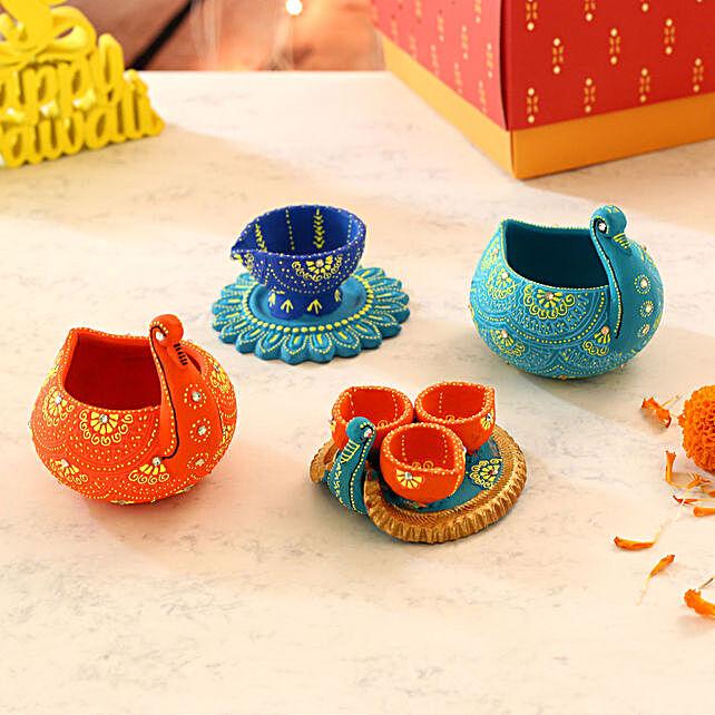 Swan And Flower Base Diyas With Diwali Greeting Card:Send Diwali Diyas to UAE