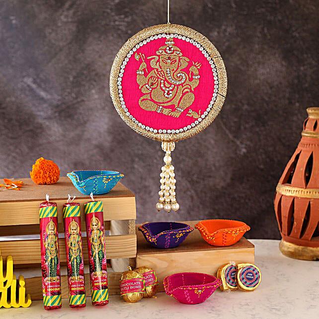 Set Of 4 Diyas And Cracker Shaped Chocolates:Send Diwali Diyas to UAE