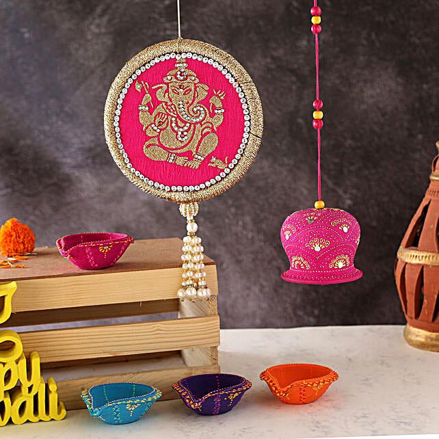 Set Of 4 Diyas With Wall Hanging And Bell:Send Diwali Diyas to UAE