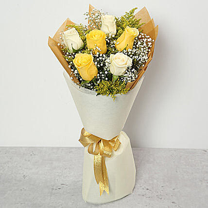 White and Yellow Roses Bouquet:Send Roses to UAE
