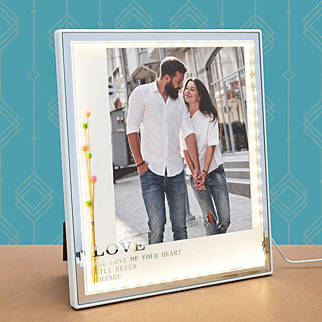 White Square Table-Top LED Photo Frame