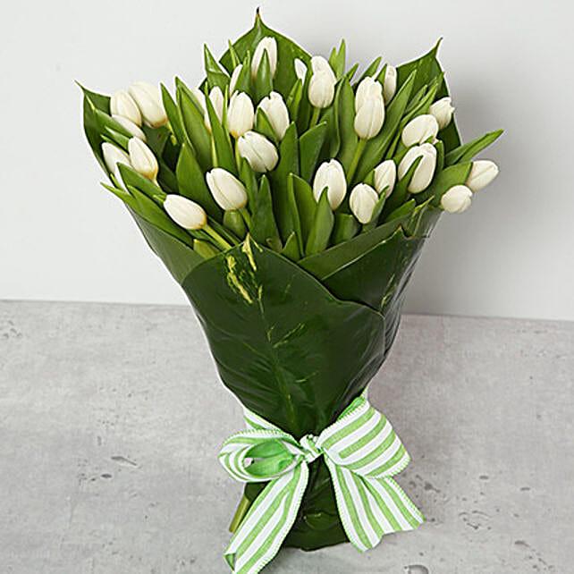 White Tulips Bouquet:Send Tulip Flowers to UAE