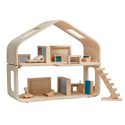 Wooden Contemporary Dollhouse:Send Soft Toys to UAE