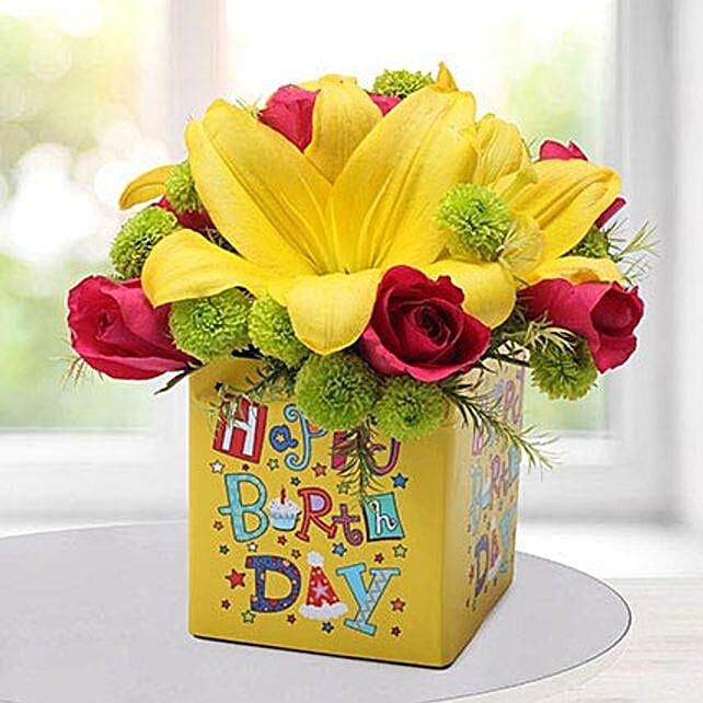 Yellow N Pink Birthday Flower Arrangement In Uae Gift Yellow N Pink