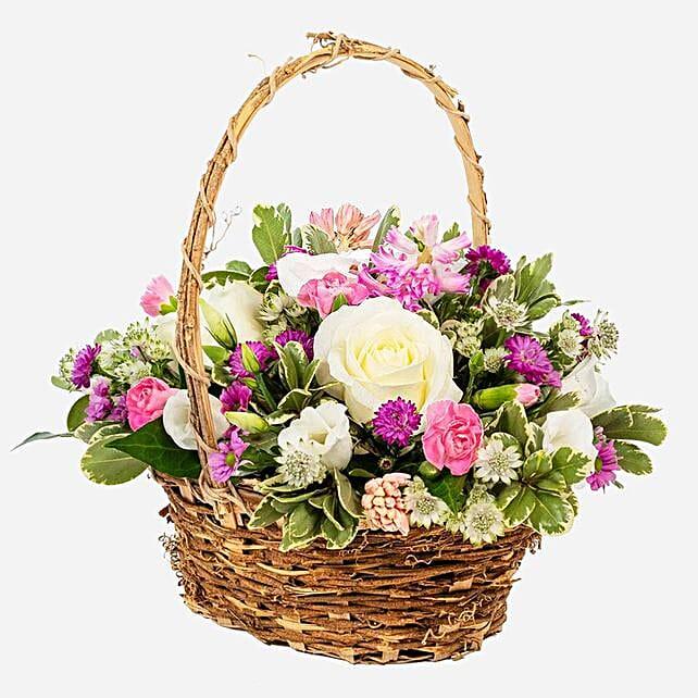 Basket Of Pastel Flowers