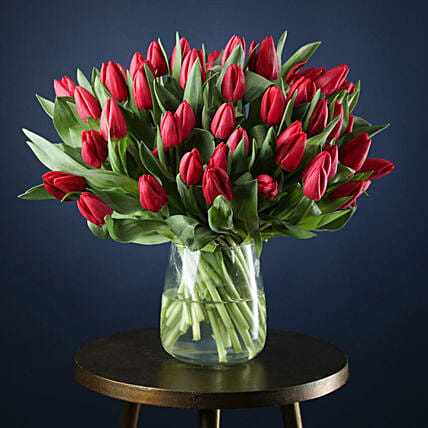 Beautiful Red Tulips Arrangement