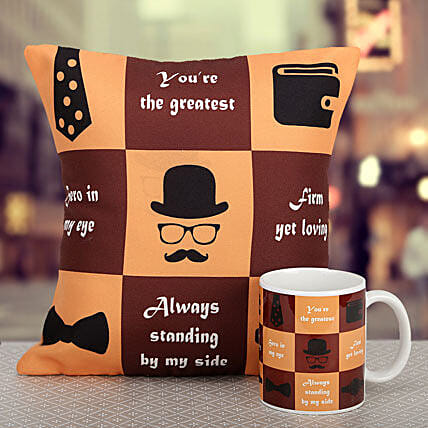 Great dad printed cushion and mug