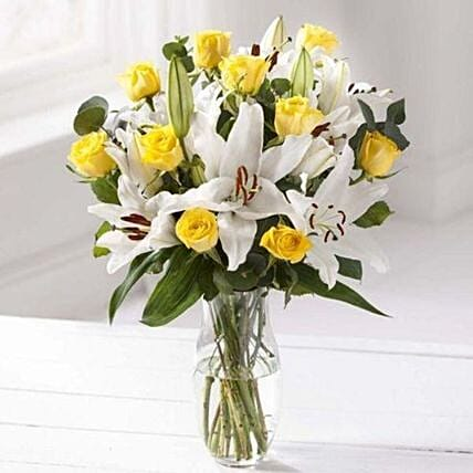 Blooming Rose And Lily Bouquet