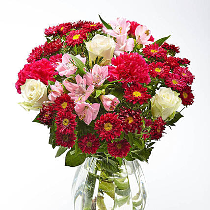 Burst Of Blooms With Roses And Carnations