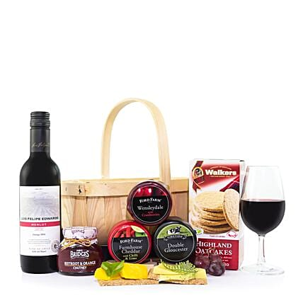 Cheese And Wine Basket Gift Set:Gift Baskets to UK