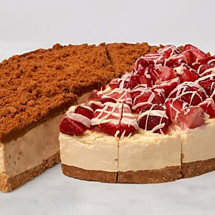 Christmas Lotus Biscoff And Strawberry Cheesecake