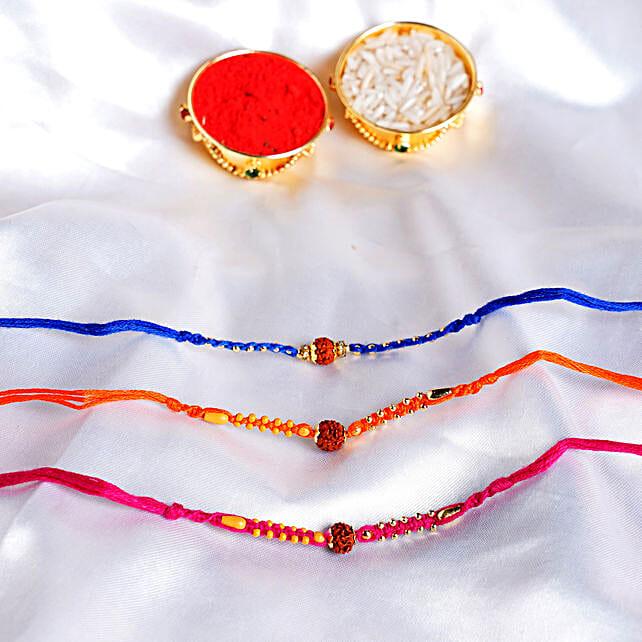 Colourful 3 Rudraksha Rakhi Set