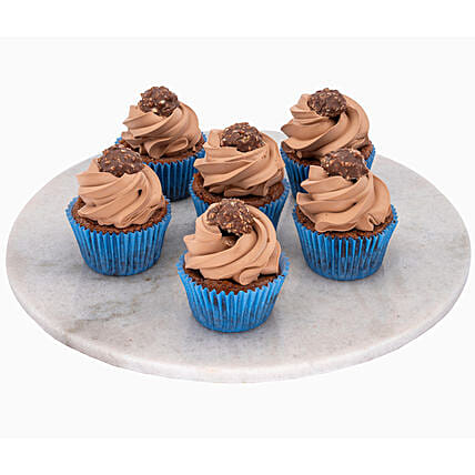 Dark Chocolate Topped Ferrero Rocher Cup Cakes 6 Pcs