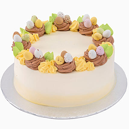 Delectable Easter Eggs Topped Vanilla Cake:Easter Gifts to UK