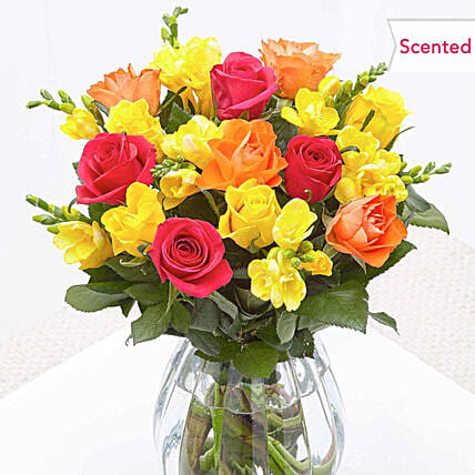 Enchanting Roses And Freesia Bouquet:Roses