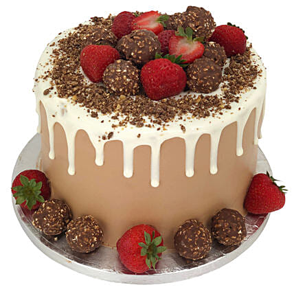 Ferrero Strawberry Fiesta Tower Cake:Order  Cakes to UK