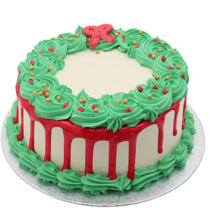 Festive Christmas Wreath Vanilla Cream Cake:Cake Delivery UK