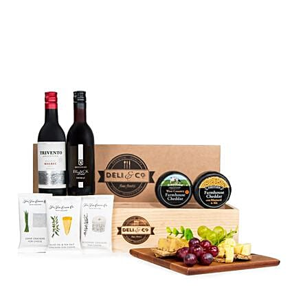 Handpicked Cheese And Wine Hamper:Gift Baskets to UK