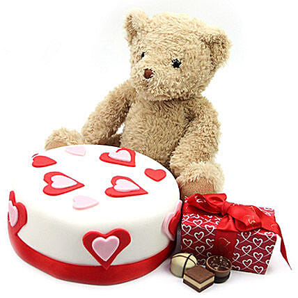 Hearts Cake With Teddy N Chocolates:Send Anniversary Chocolates to UK