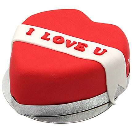 I Love You Ribbon Heart Cake:Cake Delivery UK