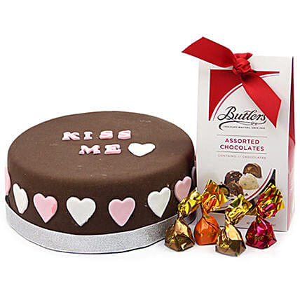 Kiss Me Love Cake And Buttlers Chocolates