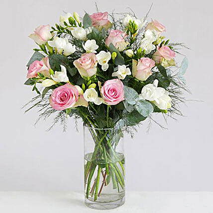 ca5317e508 Love Bouquet Of 10 White Freesia And Pink Roses in uk | Gift Love ...