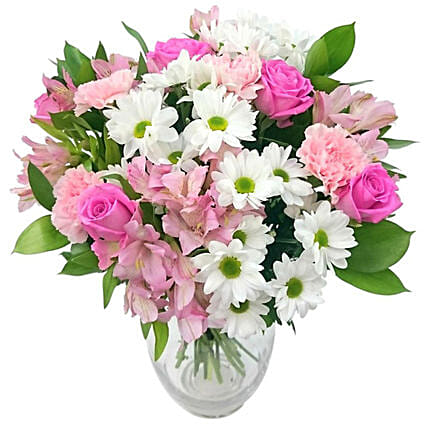 Lovely White And Pink Bouquet