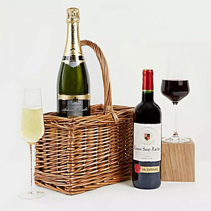 Luxury Champagne Red Wine Hamper:Valentines Day Gift Hampers to UK