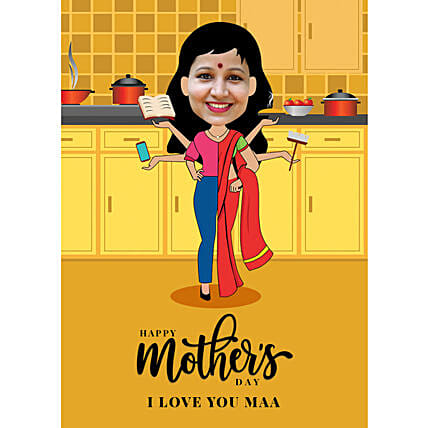 Mothers Day Personalised E Caricature:Send Mothers Day Gifts to UK