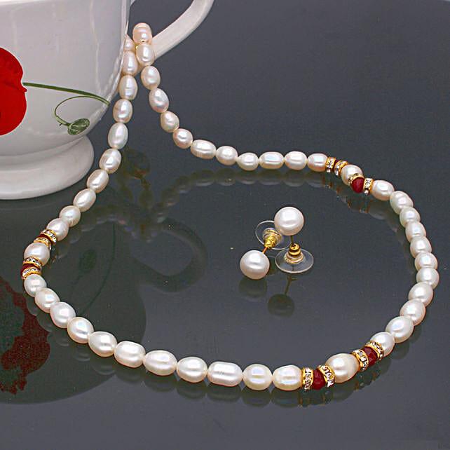 Navishka One Line  Pearl set:Artificial Jewellery Gifts to UK