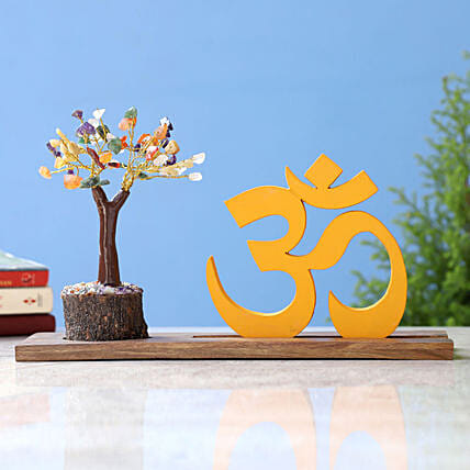 Om Table Top and Multicoloured Stone Wish Tree