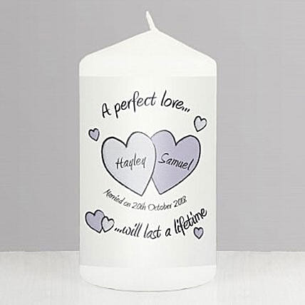 Perfect Love Personalized Wedding Candle:Send Birthday Personalised Gifts to UK